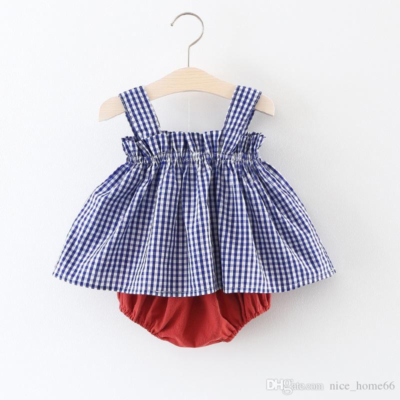 Summer Baby Girls Sets Plaid Sleeveless Vest Dress+Shorts Bloomers Kids Girls Outfits Baby Clothing Sets
