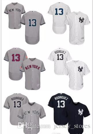 8bdaca248 ... 2017 Mens New York Yankees 13 Alex Rodriguez Gray White Navy Blue  Official Cool Base Ny ...
