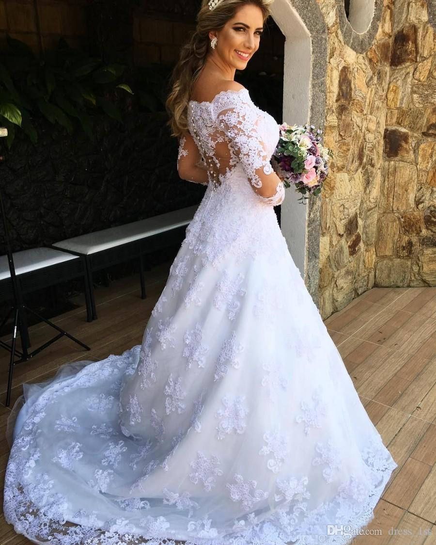 Romántico 2017 Lace Off The Hombro ilusión mangas largas vestidos de novia del jardín Modest apliques perlas largos vestidos de novia Custom EN7173