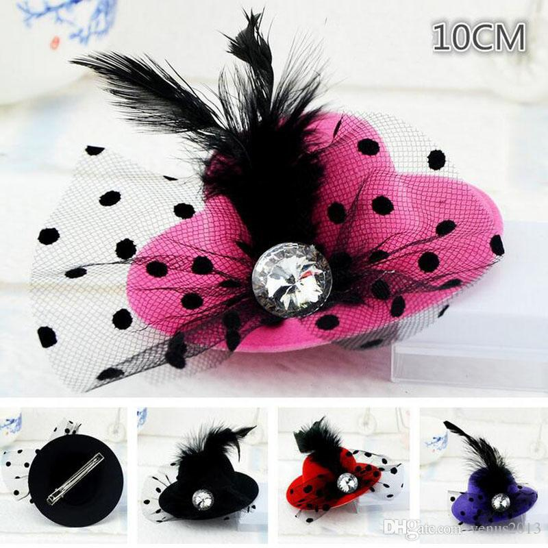 10cm Mini Kids Party Hat Bridal Feather Veil Hair Clip Wedding Birthday Party Costume Fancy Dress Free Ship
