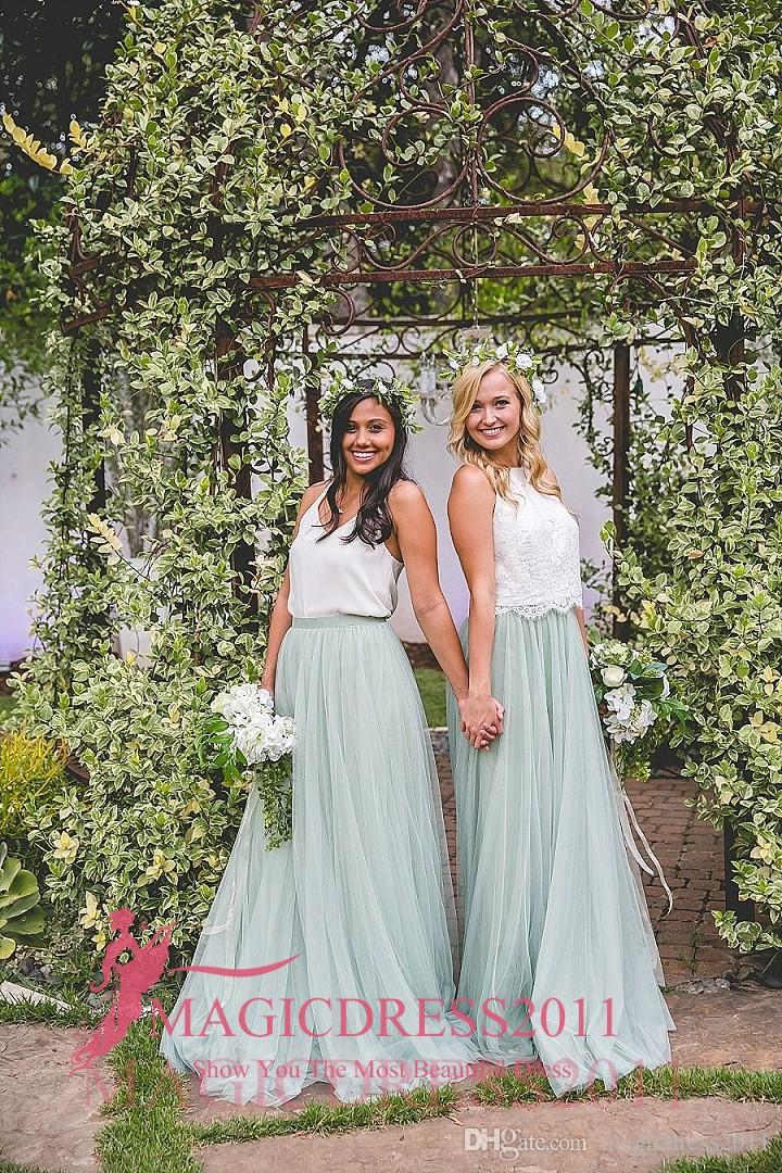 Two Pieces 2016 Mint Tutu Skirt Bridesmaid Dresses A-Line V-Neck Party Prom Gowns Vintage Garden Maid of Honor Dress Country Wedding