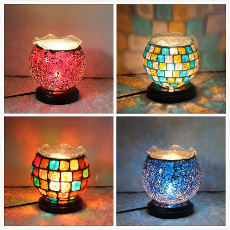 Akdeniz mozaik yatak odası başucu lambası lampColor cam dekoratif lamba ışık koku yağı yaratıcı