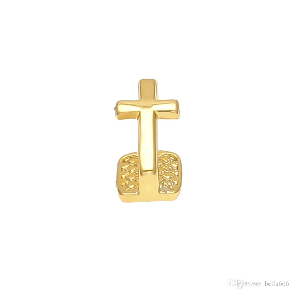 Men Women 18K Gold Plated Hip Hop Single Cross Tooth Grillz Cap Top & Bottom Copper Grill with Sillicone Nightclub Party Jewelry