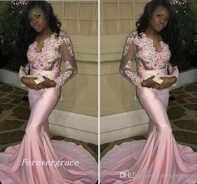 be4b52ddc99 2017 Sexy Fashion Black Girls Prom Dress Long Sleeves Formal Holidays Wear  Graduation Evening Party Pageant Gown Custom Made Plus Size Gigi Prom  Dresses ...
