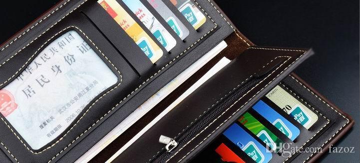 우수한 새로운 스타일의 남성 블랙 가죽 지갑 긴 지갑 가방 삼단 부드러운 여행 클러치 지갑 대용량 많은 카드 슬롯 소스 공급