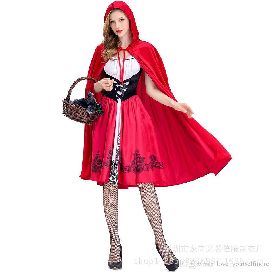 a9afe84ba Compre Hot Anime Caperucita Roja Cosplay Carnaval Disfraces De ...