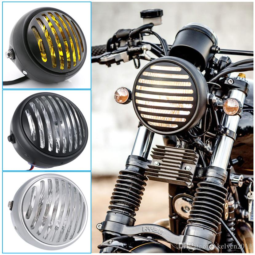 Retro Grill Headlight Motorcycle Front Fork Mount Cover Mask Vintage Harley  Headlight Bullet 6 5 Cafe Racer Ducati Light Honda CG250 NG125