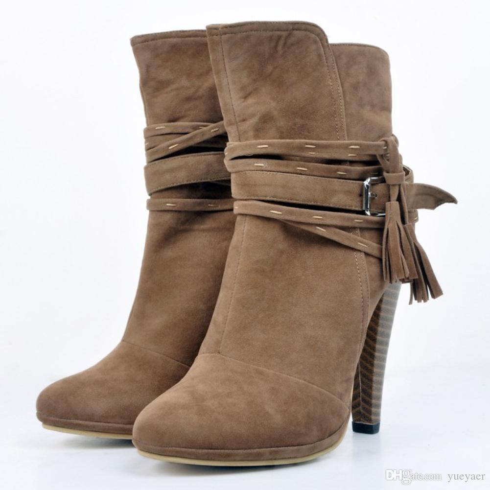 Zandina Moda Feminina Handmade Grosso Salto Borla Deco Partido Escritório Ankle Booties Sapatos Tribunal Marrom XD127