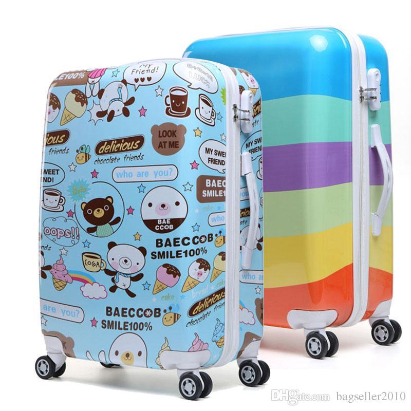 20in Women Girls Rolling Luggage Abs Trolley Travel Bag Boarding ...