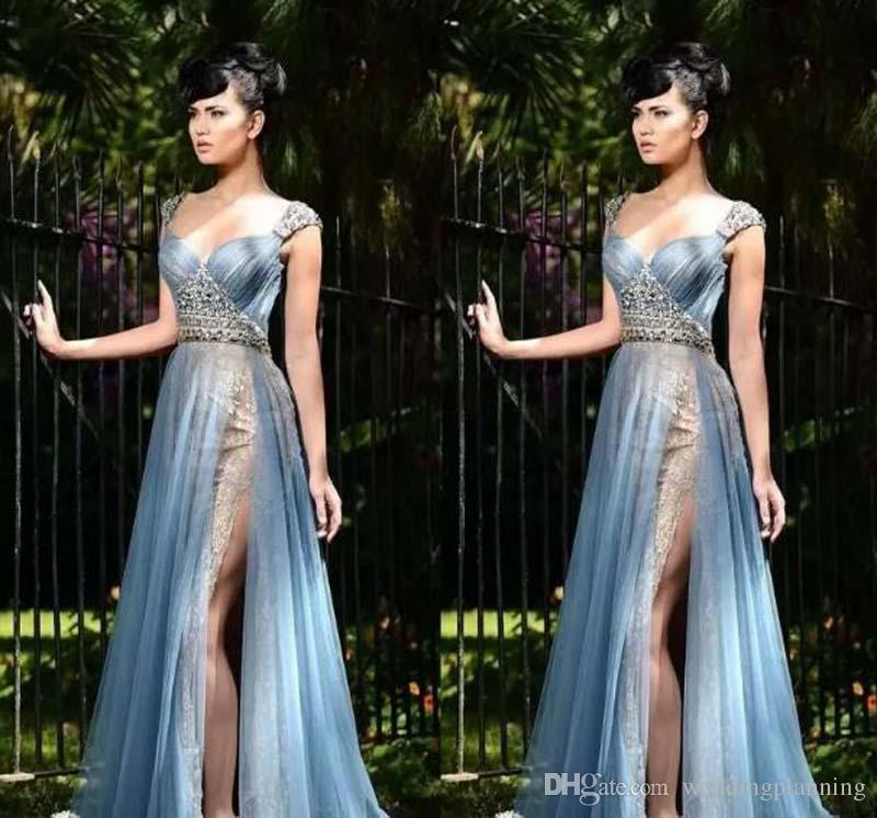 Rami Salamoun 2017 Mermaid Lace Side Split Abiti da sera Perline Sweetheart Neck Pleats Tulle Piano Lunghezza Prom Party Beauty Pageant Dress