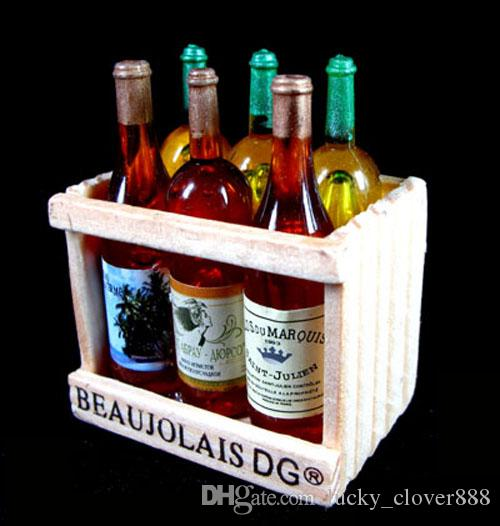 Collectible 1:6 Scale Dolls House Dollhouse Miniature 6 Champagne Wine Beer Bottles on Crate wood holder Mini simulation model Fridge Magnet