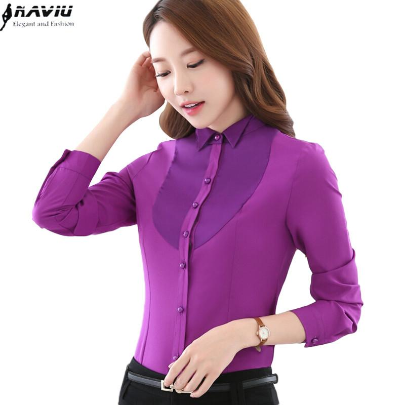 ba1c1ddcf5ed3 2019 2017 New Autumn Women Fashion Blouse Korean Occupation Long Sleeve  Solid Color Chiffon Shirt Slim Ladies Office Plus Size Tops From  Erindolly360b