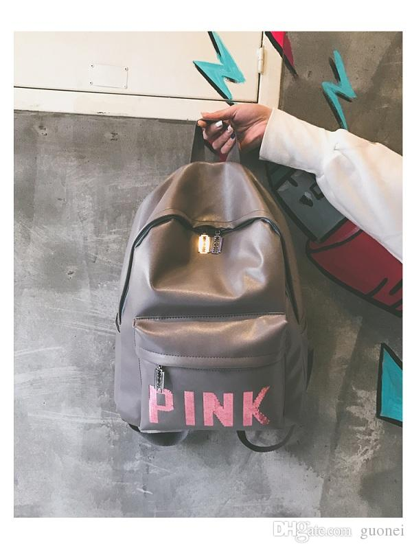 Brand-Women Pink Sequins Backpack Pink Letter Sequin Glitter Backpacks PU Fashion School Bags Waterproof Travel Bags Teenager Shoulder Bags