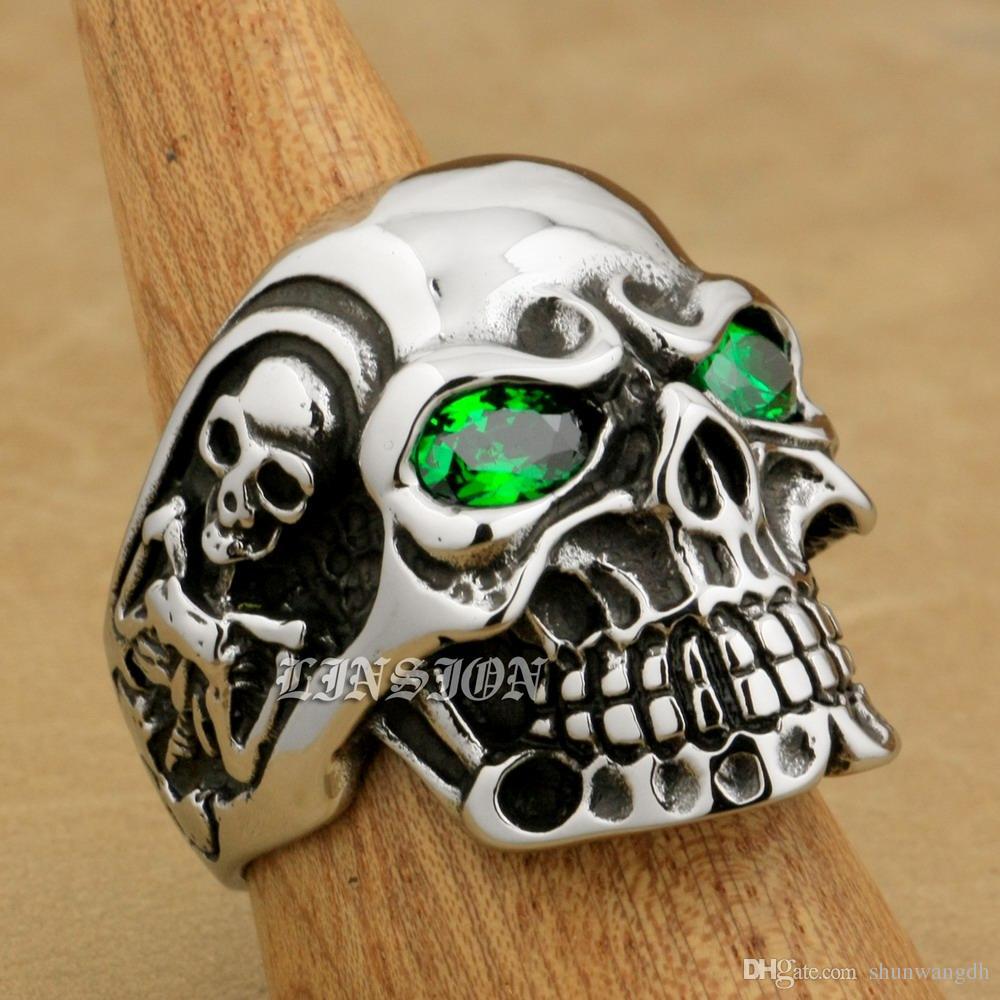 LINSION Énorme Lourd En Acier Inoxydable 316L Vert CZ Yeux Titan Crâne Hommes Garçons Biker Rock Punk Anneau 3A301