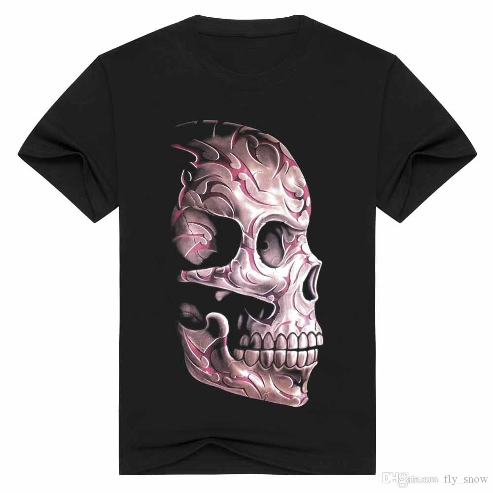 2017 3d Printing Skeleton Printed T Shirts 100% Cotton Authentic ...