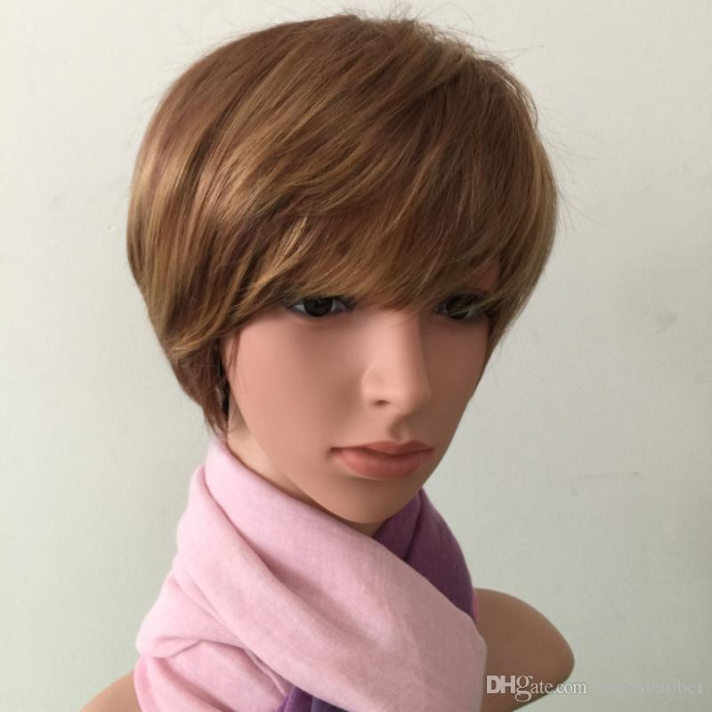 Fashion Women S Short Hair Wig Synthetic Brown Highlighted Light