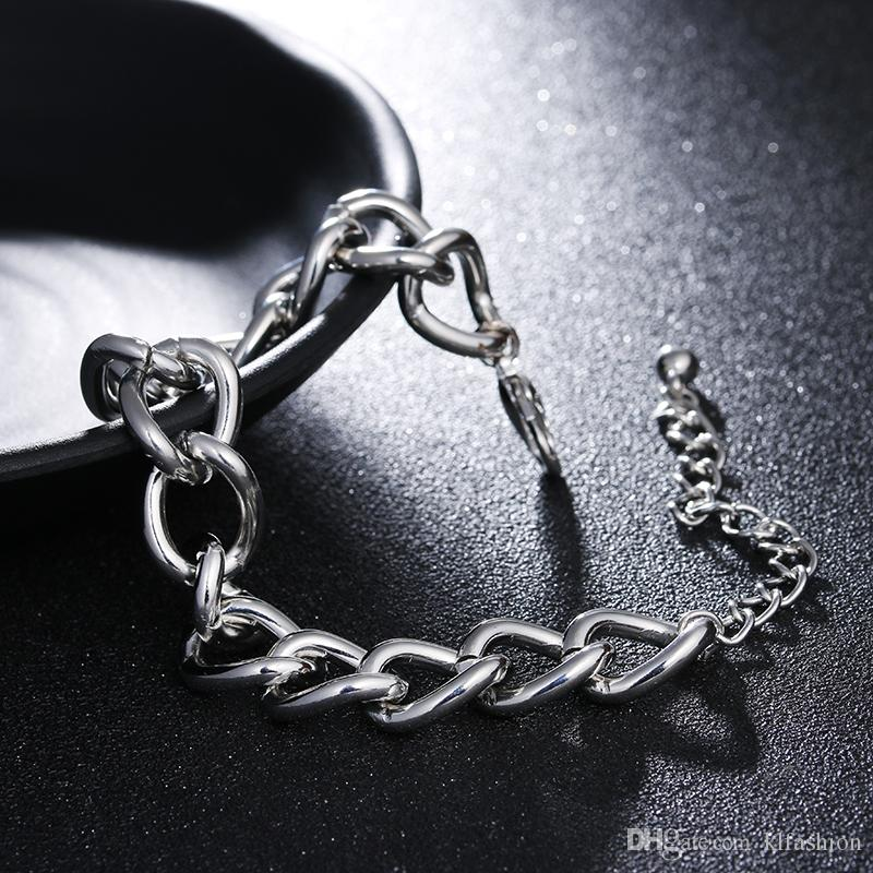 Big Promotion Silver Plating Chunky Bracelets for Women Men Simple Style Adjustable Size Chain Diy Bracelet Fashion Jewelry Wholesale