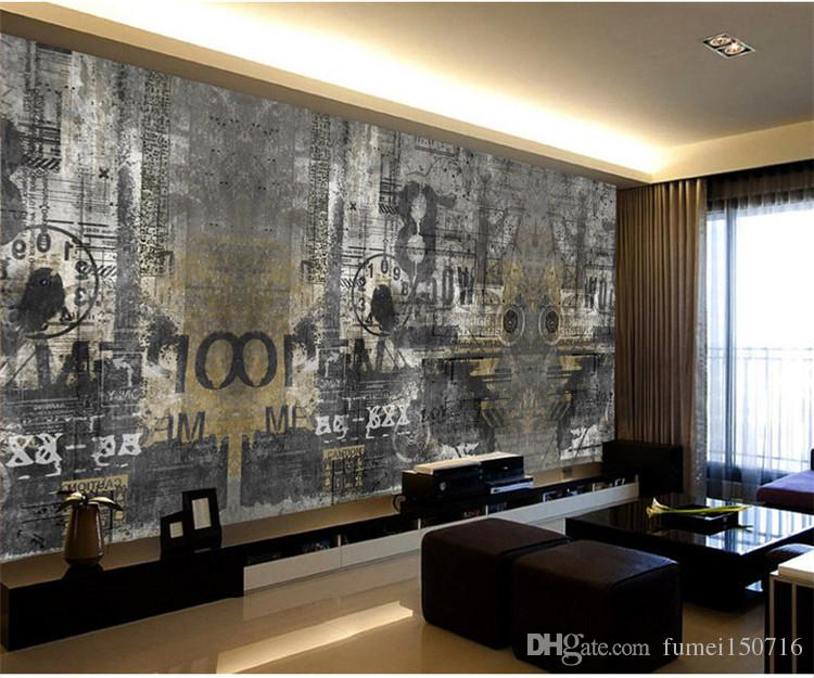 Retro Nostalgic English Coffee Bar Counter Ktv Wall Paper Pluxury Creative  Artistic Graffiti Nostalgia Large Mural Wall Paper Wallpapers For Mobile ...