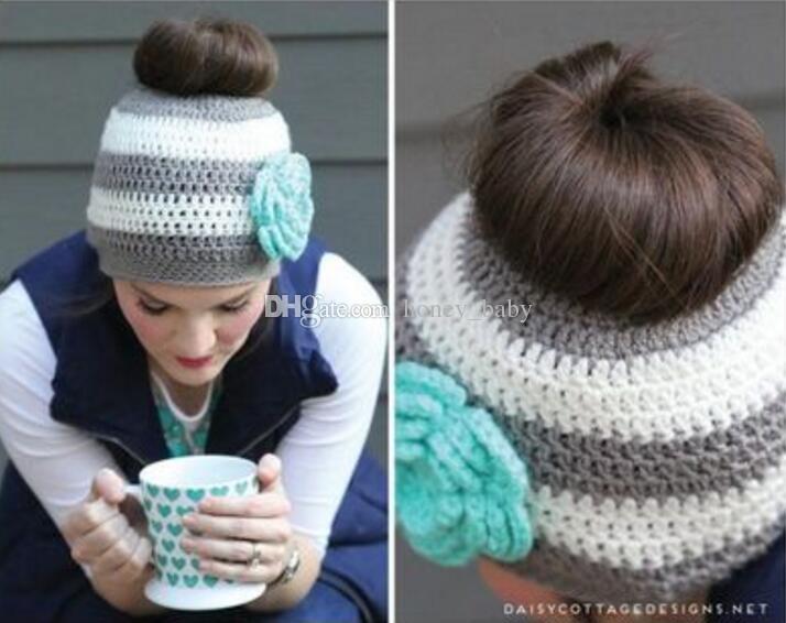 Crochet Pattern Messy Bun Hat Children Infant Toddler Kids Knitted
