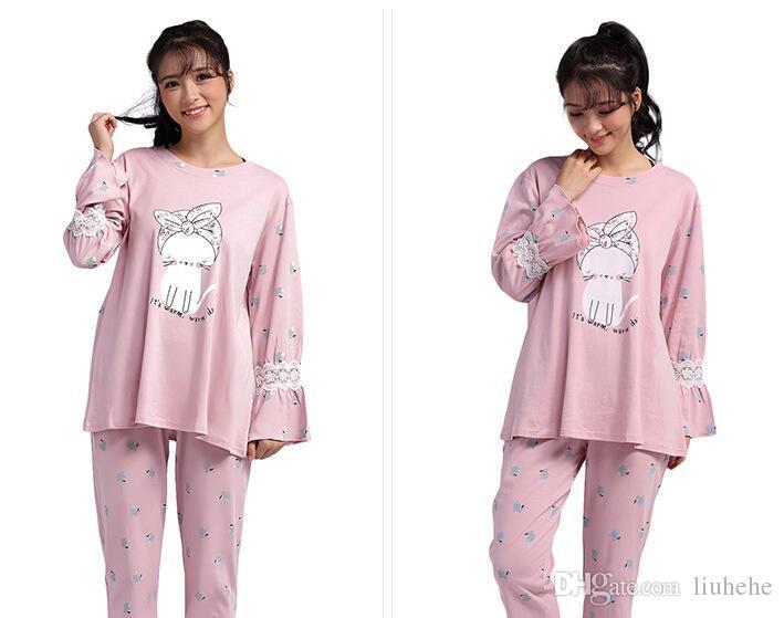 2017 nuovi pigiami di cotone autunno e inverno tuta coreana casuale a maniche lunghe pantaloni servizio a domicilio