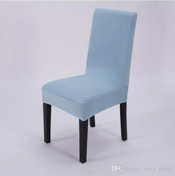 Stuhlhussen Reine Farbe Elastische Stuhl Sitz Schonbezug Solide Stretch Bankett Stuhlabdeckung Esszimmer Hochzeit Hotel Decor DHG40