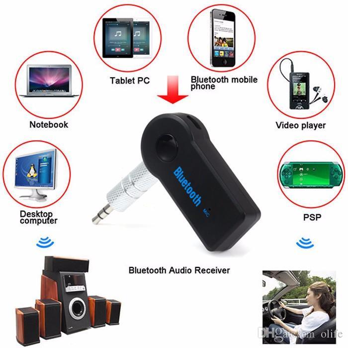 Universal 3.5mm Kit Bluetooth Car A2DP Sem Fio AUX Áudio Receptor de Música Adaptador Handsfree com Microfone Para O Telefone MP3 pacote de varejo DHL