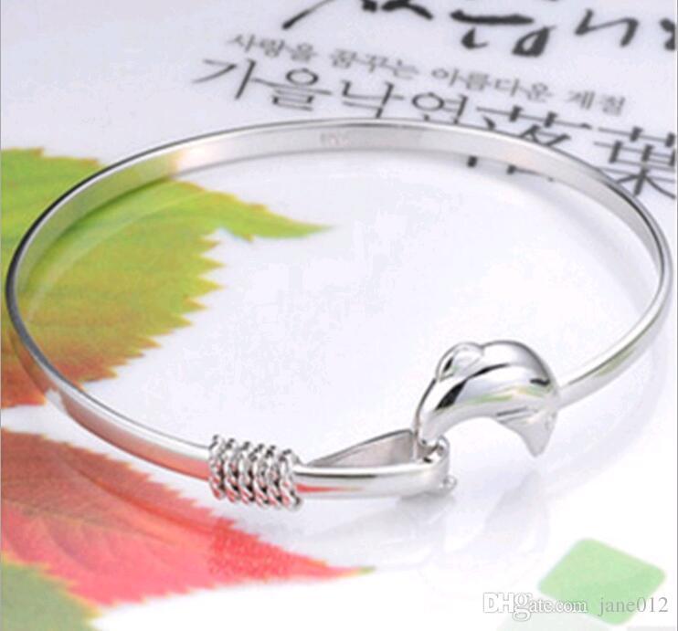 Moda Simples Jóias Coréia Mulheres pulseira de prata esterlina Atacado golfinho branco banhado a ouro Botão Gancho Pulseira frete grátis