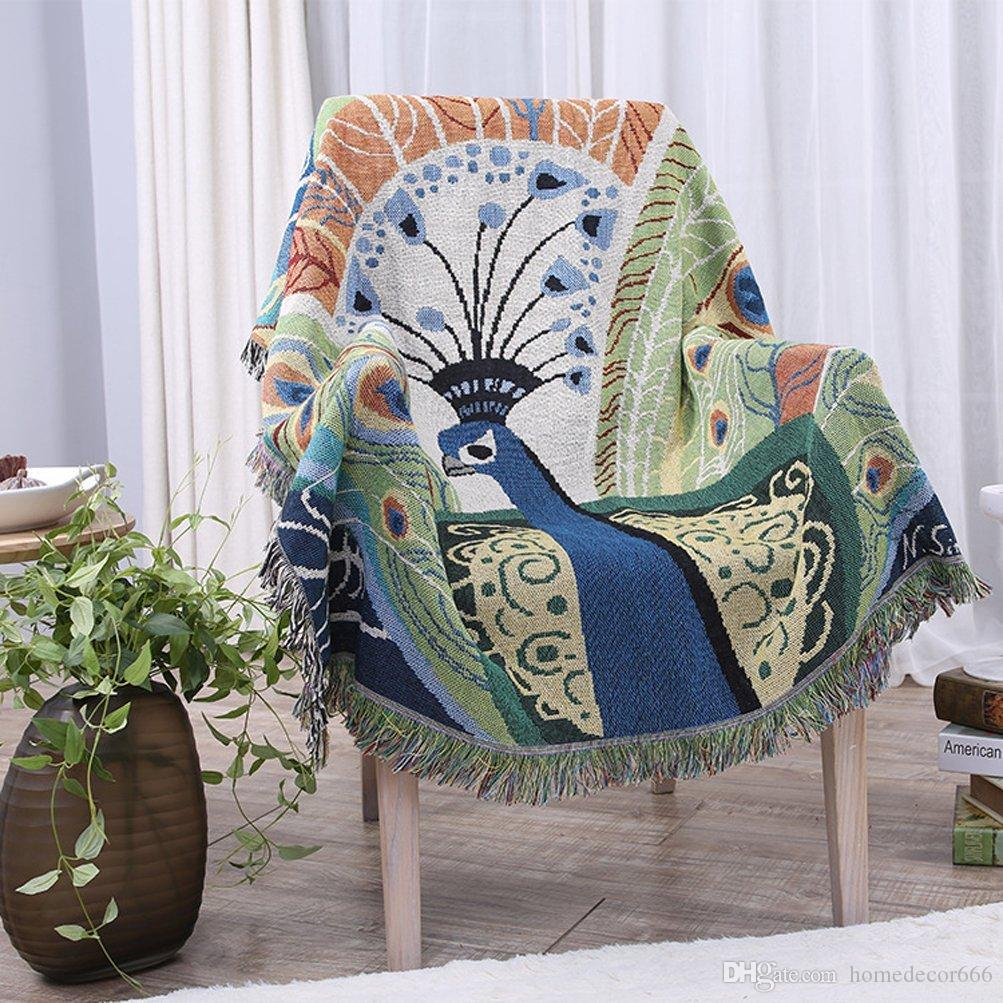 100 Pure Cotton Peacock Pattern Woven Throw Blanket