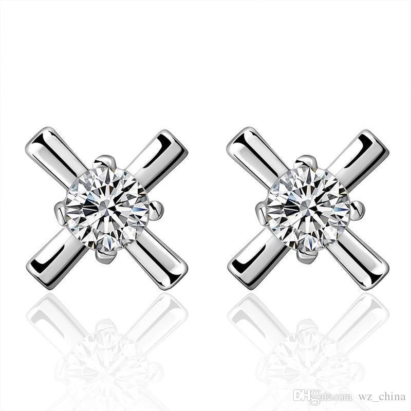 Women Silver Cross Earrings Geometric Zircon Crystal Stud Earrings Silver Plating Girls Ear Jewelry Rhinestone Wedding Luxury Stud Brincos