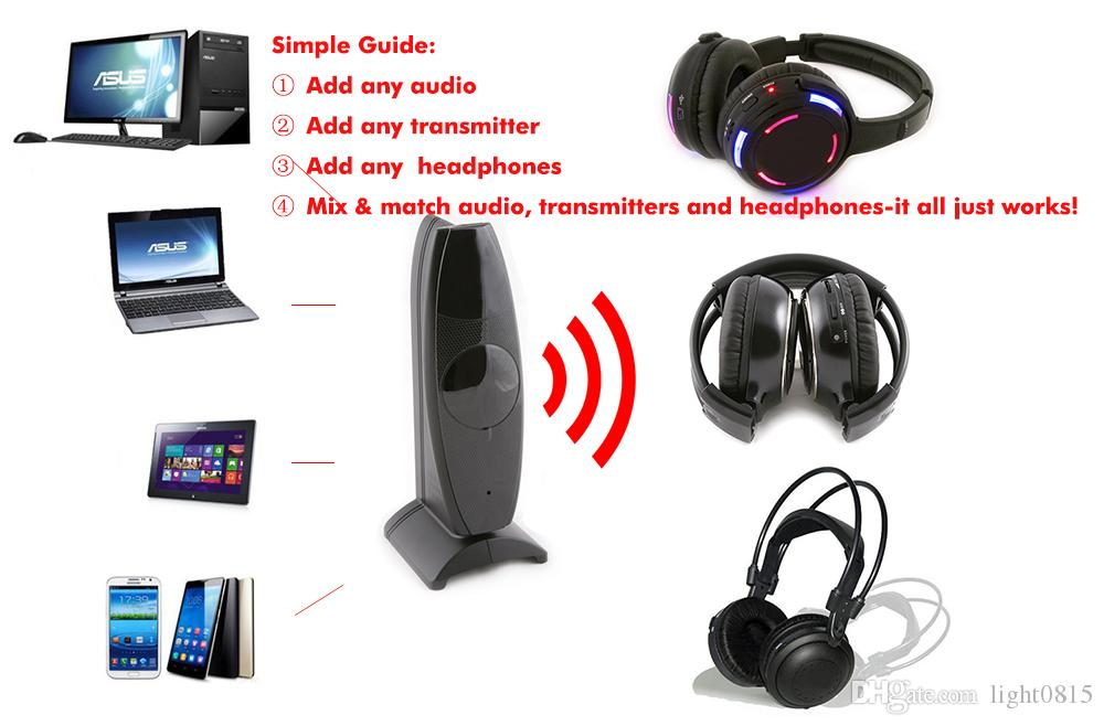 Quiet Clubbing silent disco headphones with Transmitter - RF Wireless For iPod MP3 DJ Music