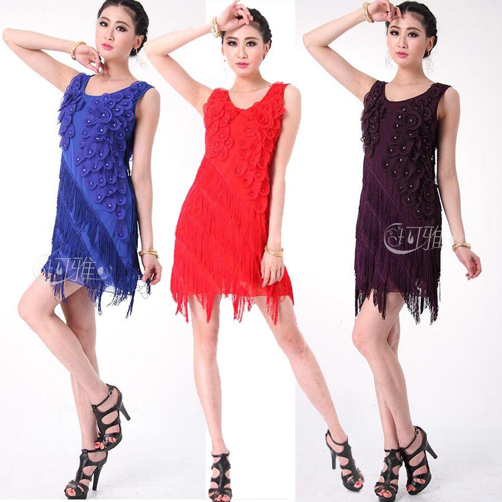 bcad94e76 WomenTassels Latin Dance Dress Performance Dancing Costumes Lady ...