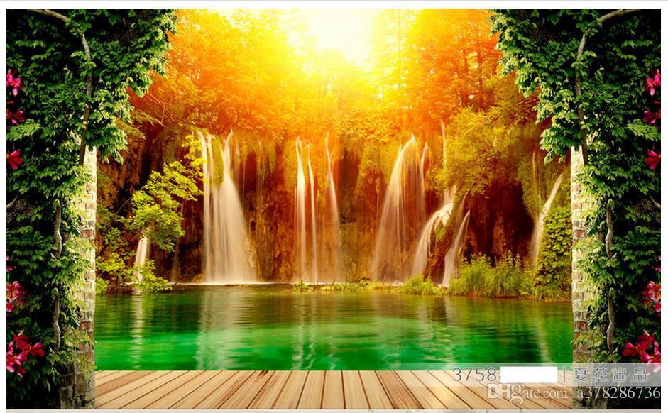 3D Fototapete benutzerdefinierte Wandbilder Tapete Wandbild Wasserfall pastoralen Landschaft 3D Hintergrund Malerei Wand Papier Wohnzimmer Wanddekoration
