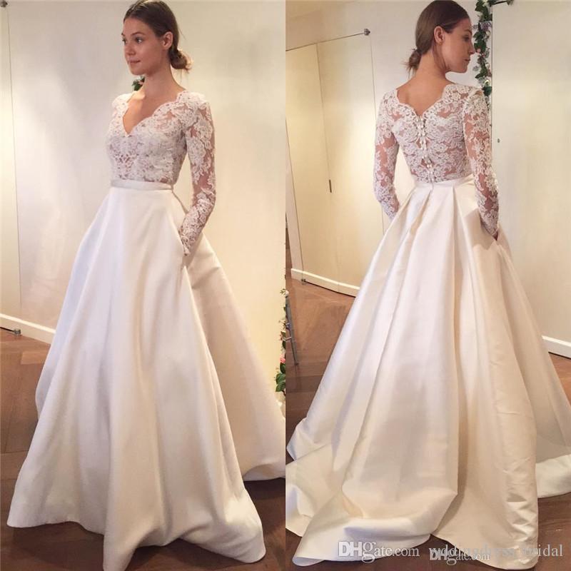 Wholesale Newest Simple Design Elegant Bridal Dress A Line: Discount Elegant Lace Wedding Dresses 2019 Illusion Bodice