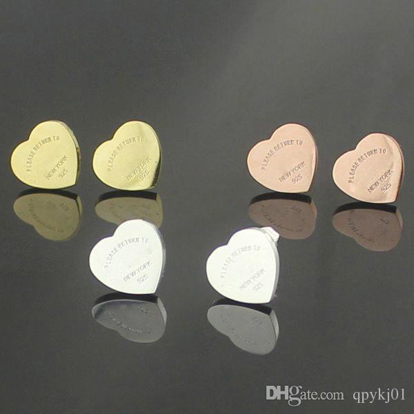 عشيق العلامة التجارية الشهيرة 316L التيتانيوم الصلب حلق القلب فاخر الشكل العلامة التجارية المرأة سحر الحب أقراط الأزياء والمجوهرات بالجملة أبدا تتلاشى