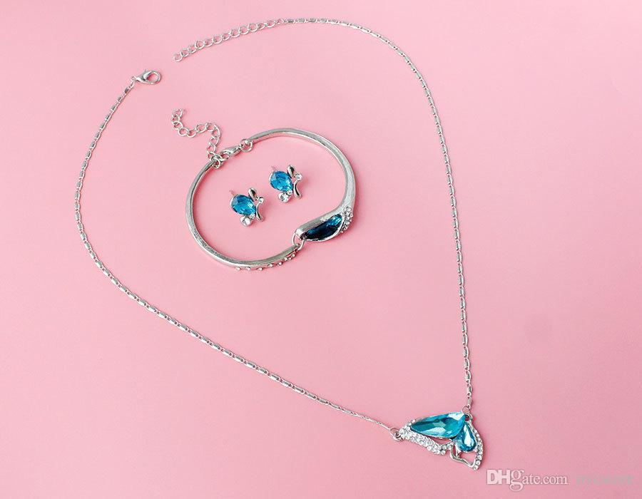 2016 New Blue Butterfly Austrian crystal Jewelry Sets Necklace + Earring+Bracelet Crystal Set Fashion Jewelry