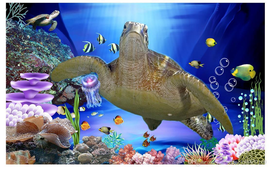 Home Decor Living Room Natural Art 3D подводный мир черепаха TV настенные украшения живопись
