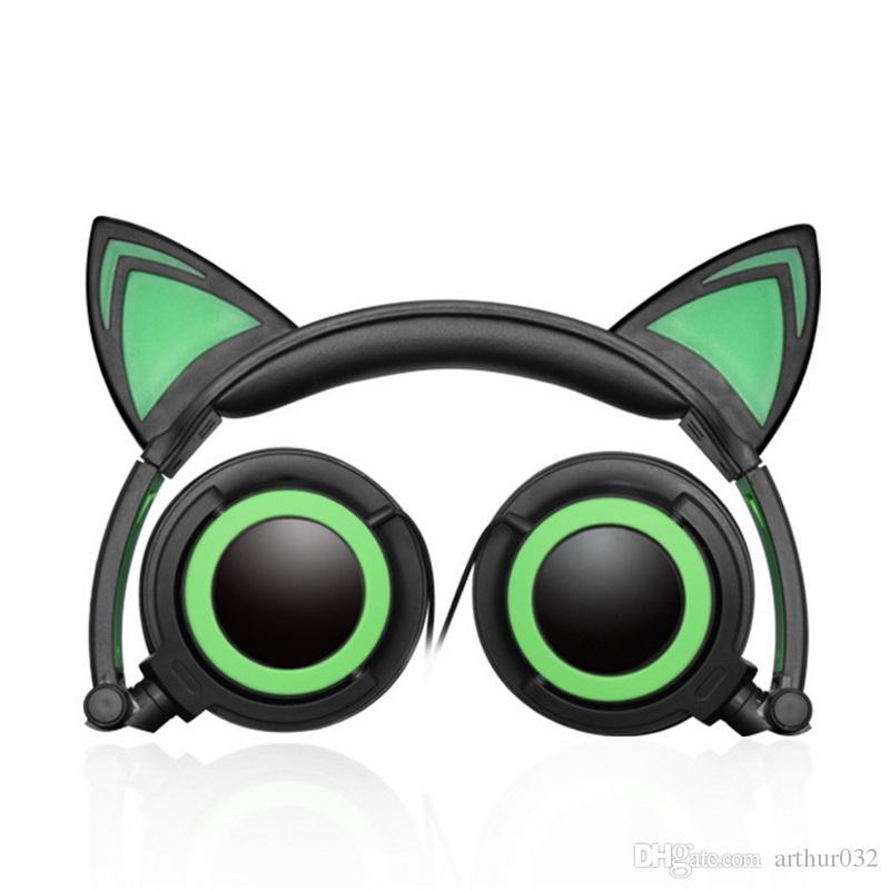 LEDライトの折りたたみ式の折りたたみ式の折りたたみ式の折りたたみ式の折りたたみ式の耳の耳のヘッドフォンPCのラップトップコンピュータの携帯電話のための輝くゲームエルフヘッドセットミュージック