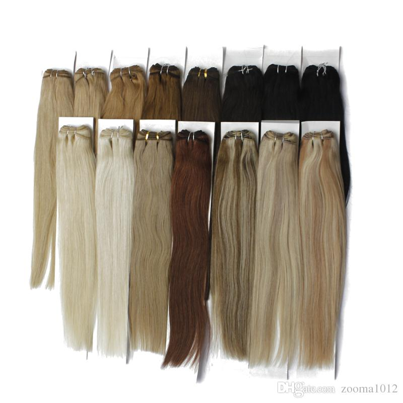 Straight Hair Weft 100 Human Hair Extensions P27/613 P8/613 P10/24 P18/613 Brazilian Piano Color Body Wave Hair Weaves 3Bundles