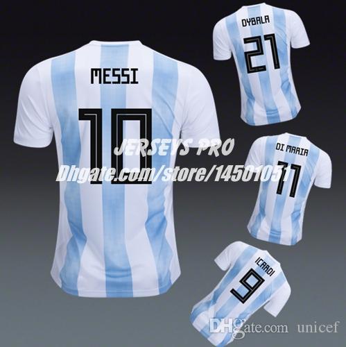 wholesale dealer 02ed0 8cce6 Argentina 2018 World Cup Jersey Shirt Messi Diego Maradona Angel Di Maria  Lucas Biglia Mauro Icardi Paulo Dybala Enzo Perez Dario Benedetto