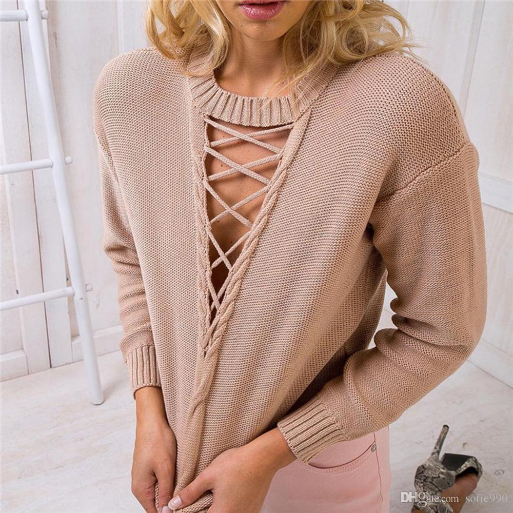 2018 Vintage Lace Up Nude Thin Sweater Women Autumn Winter Loose ...