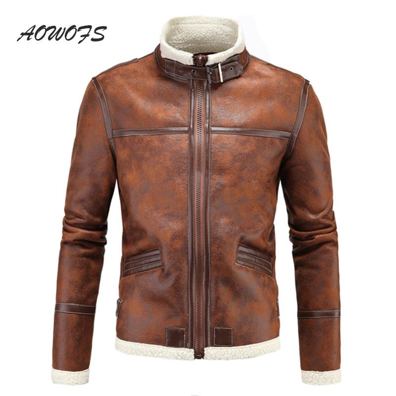 Aowofs Vintage Leather Jackets Men Winter Warm Faux Fur Shearling ...