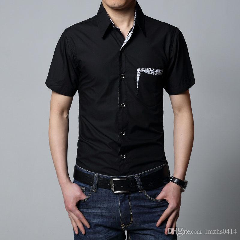 5xl 6xl زائد حجم الرجال قميص قصير الأكمام الصيف عارضة الرجال اللباس قميص أسود أبيض بنفسجي الاجتماعية الذكور قميص