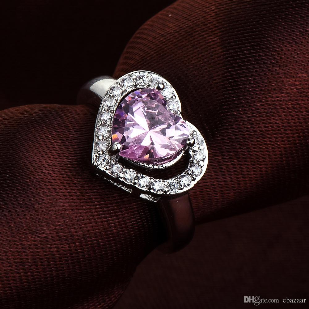 Womens Classic Gift Jewelry PINK Diamonique Cz Gold Plated Wedding Ring Sz6-10