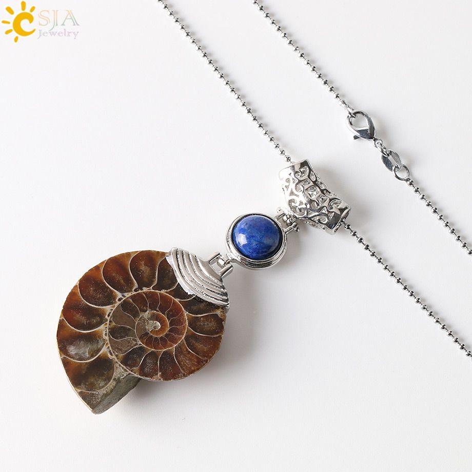 CSJA Natural Gemstone Necklace Ammonite Fossil Conch Shell Pendant Amethyst Tiger Eye Opal Pearl Lapis Lazuli Stone Beads Jewelry E256 B