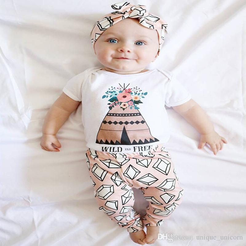 5f519c940d0f 2019 2017 Summer Spring Baby Boy Girl Clothes Sets Newborn Baby Clothing  Short Sleeve Floral Romper + Diamond Pants Two Piece Outfits From  Unique unicorn