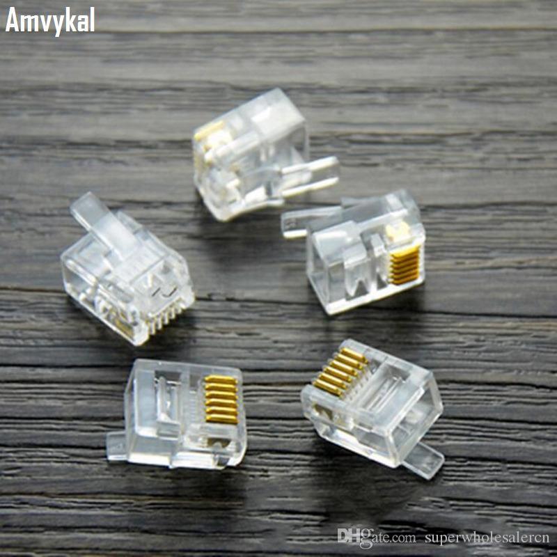/ロット高品質RJ-12 6P6C RJ11 6P4C 6P2Cモジュラープラグ電話電話コネクタRJ12 6ピン6コンタクトクリスタルヘッドアダプター