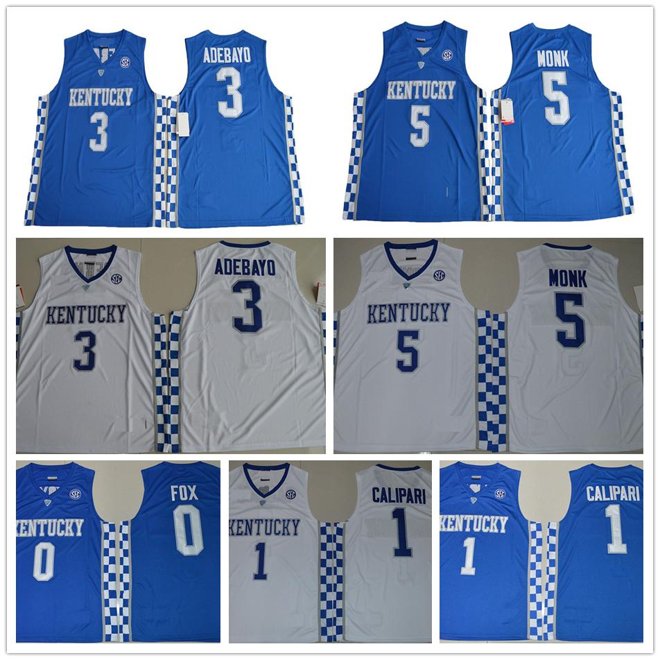 2019 NCAA Kentucky Wildcats College Basketball Jerseys 5 Malik Monk 3  Edrice Adebayo 1 Coach John Calipari 0 DeAaron Fox University Jersey From  Fans edge c8ccc272f