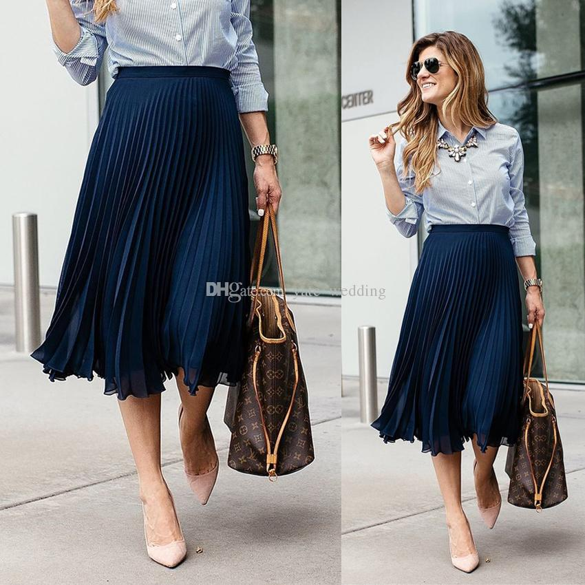 8e6ec2a72608b Navy Blue Pleated Chiffon Midi Skirts For Women Fashionable Street ...