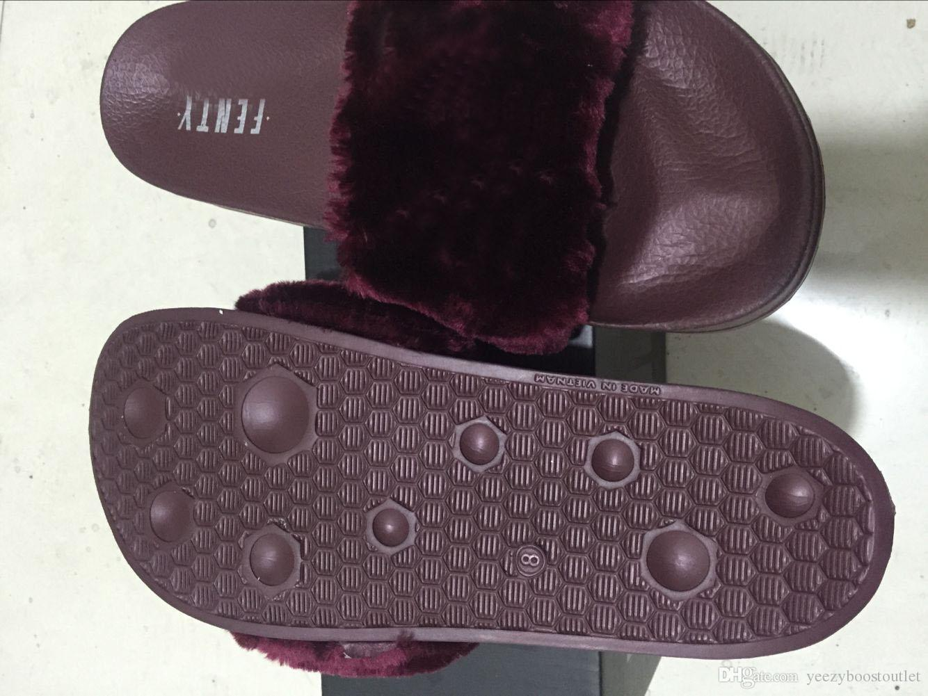 Rihanna Faux Fur Slide Indoor Slippers Ladies Fashion Sandal Women Slippers  Black Pink Burgundy Red Grey Sandals With Shoes Box Dustbag Designer Shoes  Brown ... b0a5551ed