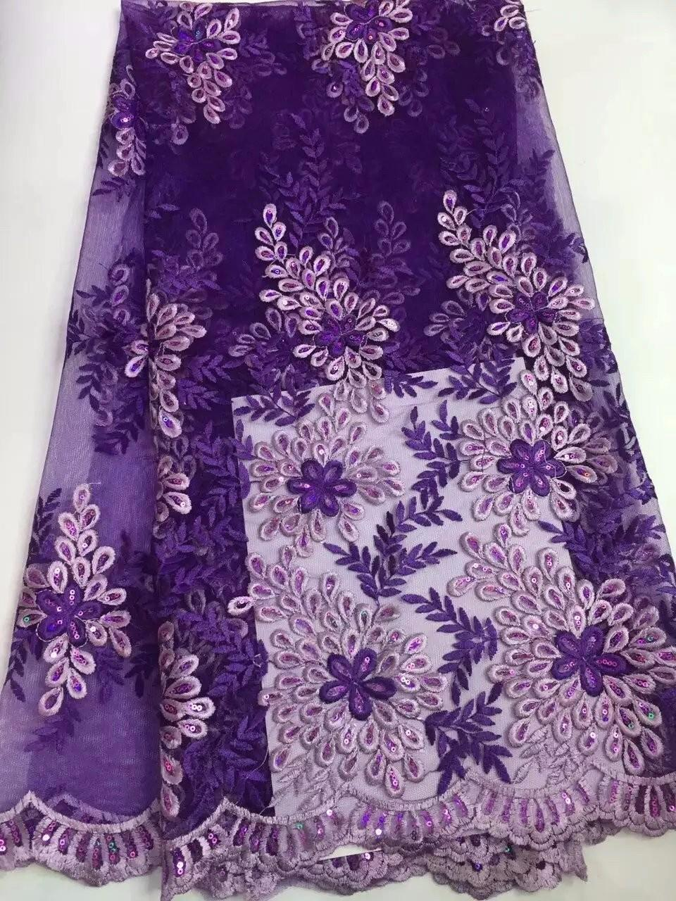 2017 Latest African Laces Fabrics in Purple Tulle Lace Fabric And ...